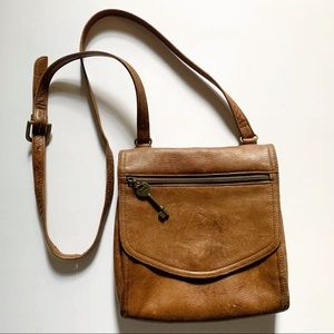 Fossil• tan brown leather crossbody bag